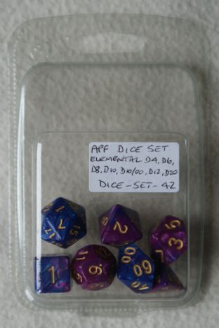 APF DICE-SET-42 (D4, D6, D8, D10, D10/00, D12 & D20) Elemental Poly Dice Set Purple/Deep Blue